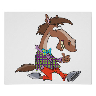 funny thumbs up nerdy horse cartoon poster