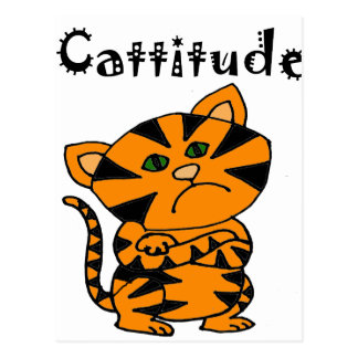 Funny Tiger Cat with Atitude Postcard