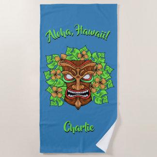 Funny Tiki Mask custom text & color beach towel