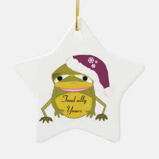 Funny Toad in a Santa Hat Christmas Ornament