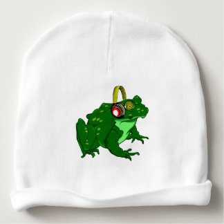Funny Toad Listening to Music Baby Beanie