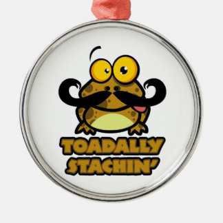 funny toadally stachin toad with a mustache metal ornament