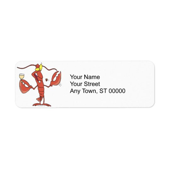 funny toasting lobster cartoon return address label