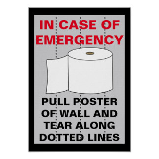 Funny Toilet Paper Bathroom Poster