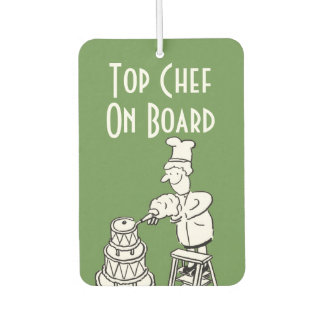 Funny Top Chef Cartoon Car Air Freshener