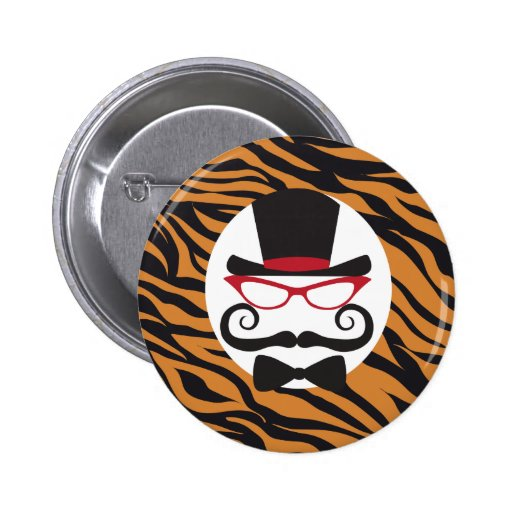 Funny Top Hat Mustache and Bow Tie Tiger Stripes Button