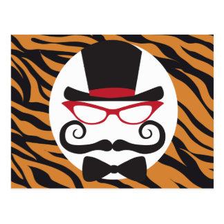 Funny Top Hat Mustache and Bow Tie Tiger Stripes Post Card