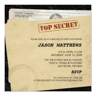 "Funny Top Secret Bachelor Party Invitations 5.25"" Square Invitation Card"