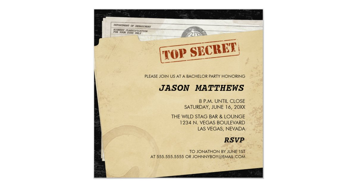 Funny Top Secret Bachelor Party Invitations | Zazzle.ca