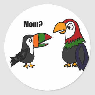 Funny Toucan Talking to Parrot Cartoon Classic Round Sticker
