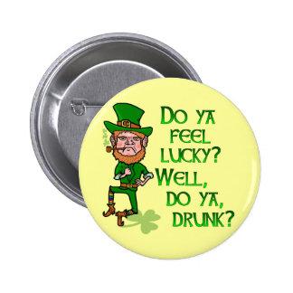 Funny Tough Lucky Drunk Leprechaun 2 Inch Round Button