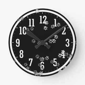 Funny traces of dog feet Wall Clock
