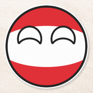 Funny Trending Geeky Austria Countryball Round Paper Coaster