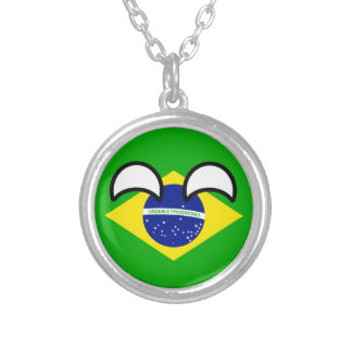 Funny Trending Geeky Brazil Countryball Silver Plated Necklace