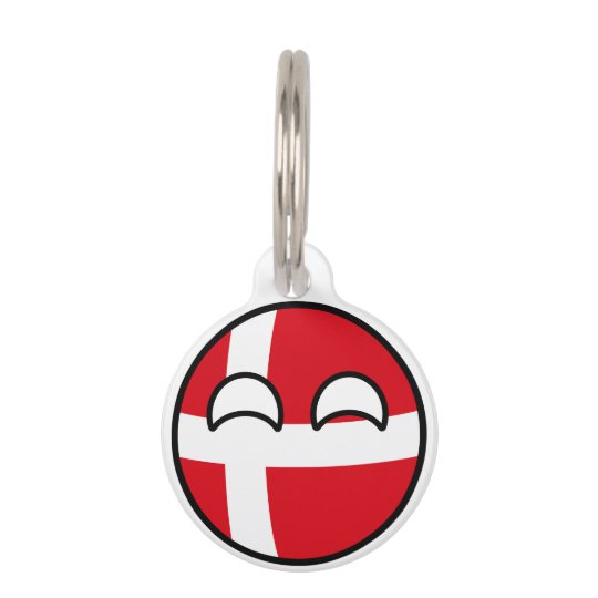 Funny Trending Geeky Denmark Countryball Pet Name Tag