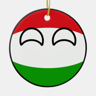 Funny Trending Geeky Hungary Countryball Round Ceramic Ornament