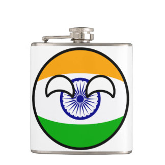 Funny Trending Geeky India Countryball Hip Flask