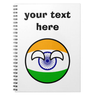 Funny Trending Geeky India Countryball Spiral Notebook