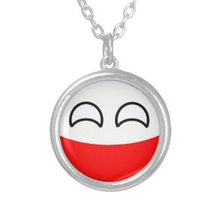 Funny Trending Geeky Poland Countryball Silver Plated Necklace