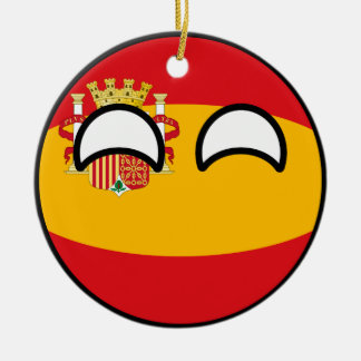 Funny Trending Geeky Spain Countryball Ceramic Ornament
