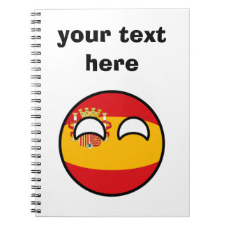 Funny Trending Geeky Spain Countryball Spiral Note Book