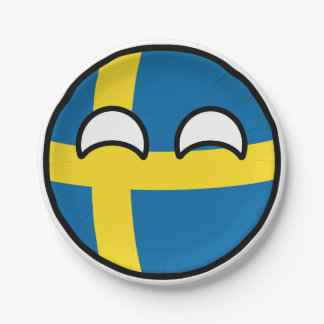 Funny Trending Geeky Sweden Countryball Paper Plate