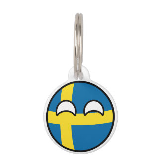 Funny Trending Geeky Sweden Countryball Pet Nametag