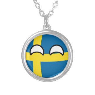 Funny Trending Geeky Sweden Countryball Silver Plated Necklace