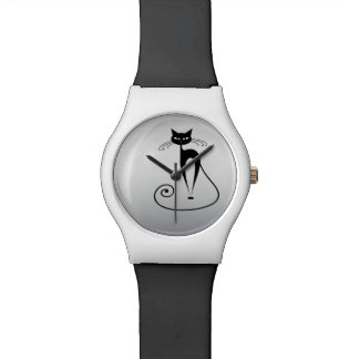 Funny trendy cat silver watch