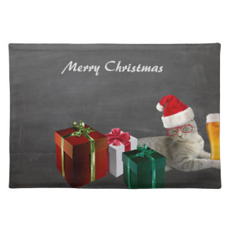 Funny trendy Christmas Santa cat with beer Place Mat