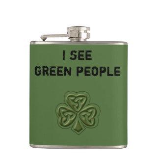 Funny trendy green Irish lucky shamrock joke Hip Flask