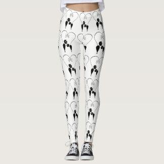 Funny trendy whimsical cat couple leggings