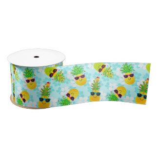 Funny Tropical Christmas Pineapples Satin Ribbon