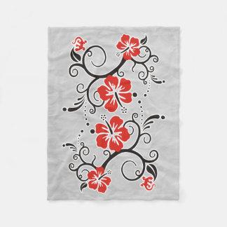 Funny Tropical Hibiscus Decor black red white Fleece Blanket