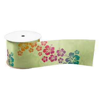 Funny Tropical Hibiscus Decor + your background Satin Ribbon