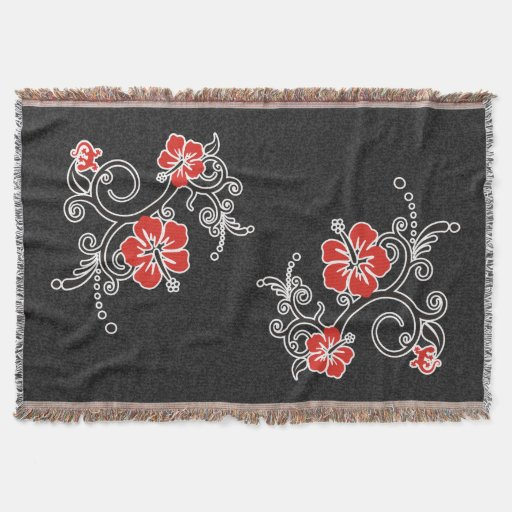 Funny Tropical Hibiscus Decor Throw Blanket