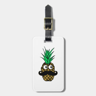 Funny Tropical Pineapple with Googly Eyes Mustache Luggage Tag