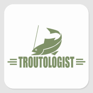 Funny Trout Fishing Square Sticker