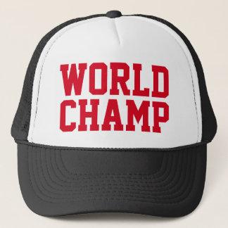 "Funny Trucker Hat: ""WORLD CHAMP"" Trucker Hat"