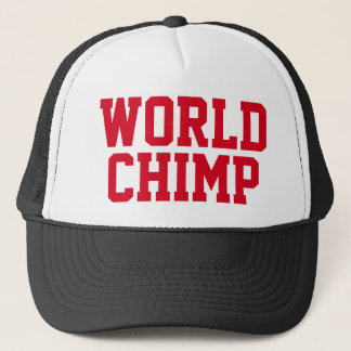"Funny Trucker Hat: ""WORLD CHIMP"" Trucker Hat"