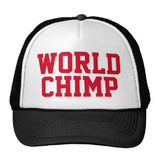 "Funny Trucker Hat: ""WORLD CHIMP"" Trucker Hat"