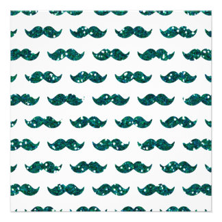Funny Turquoise Glitter Mustache Pattern Printed Announcements