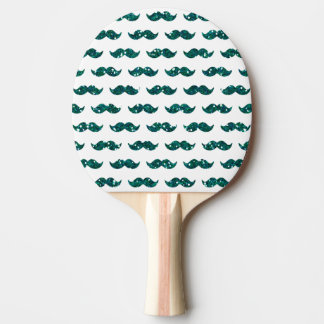 Funny Turquoise Glitter Mustache Pattern Printed Ping Pong Paddle