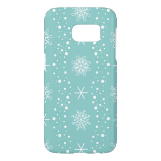 Funny Turquoise Snowflakes Pattern Samsung Galaxy S7 Case