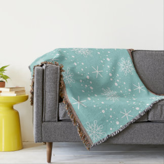 Funny Turquoise Snowflakes Pattern Throw Blanket