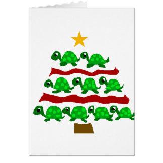 Funny Turtle Art Christmas Tree Design Card