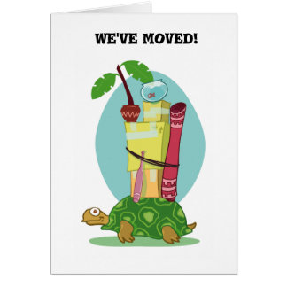 funny turtle carrying items cartoon address change card