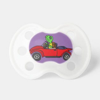 Funny Turtle Driving Red Convertible Car Pacifier