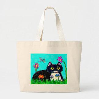 Funny Tuxedo Black Cat Daisies Creationarts Large Tote Bag