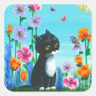 Funny Tuxedo Cat Butterflies Creationarts Square Sticker